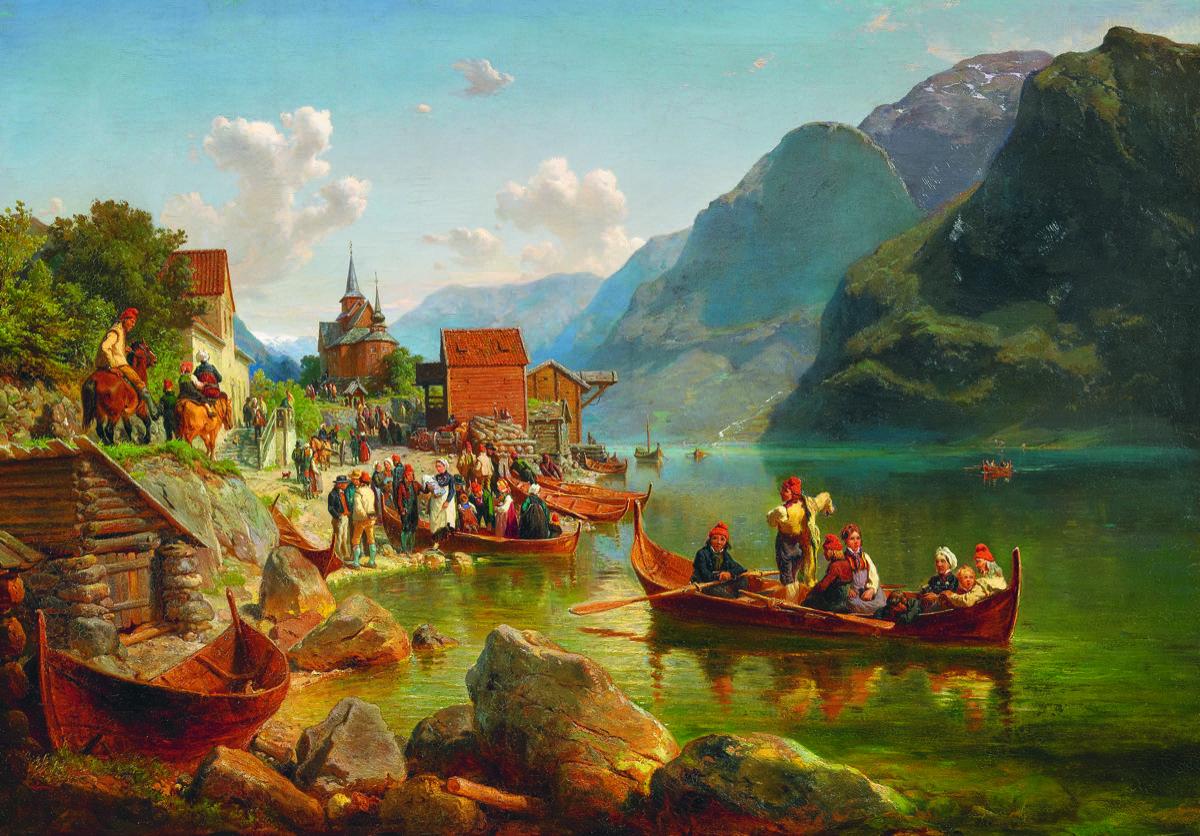 Taufgesellschaft am belebten Fjord