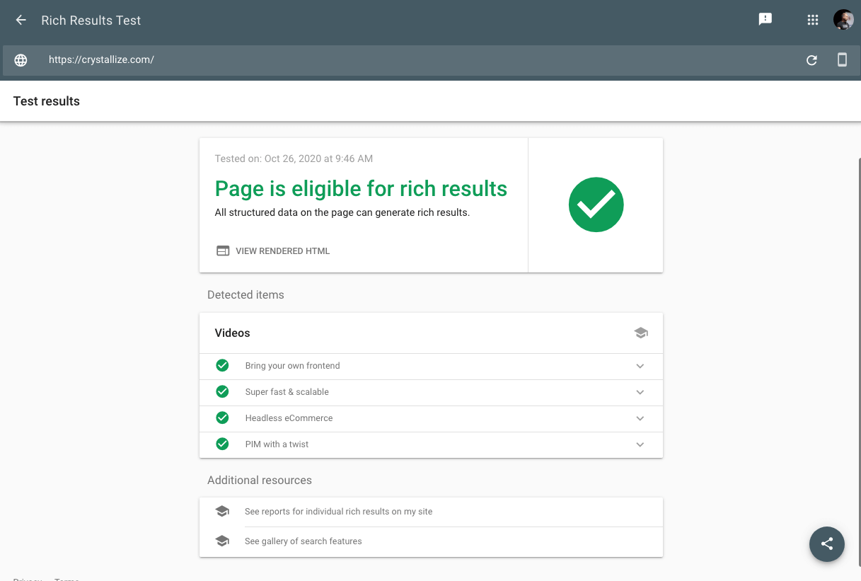 Rich results testing tool for verifying structured data
