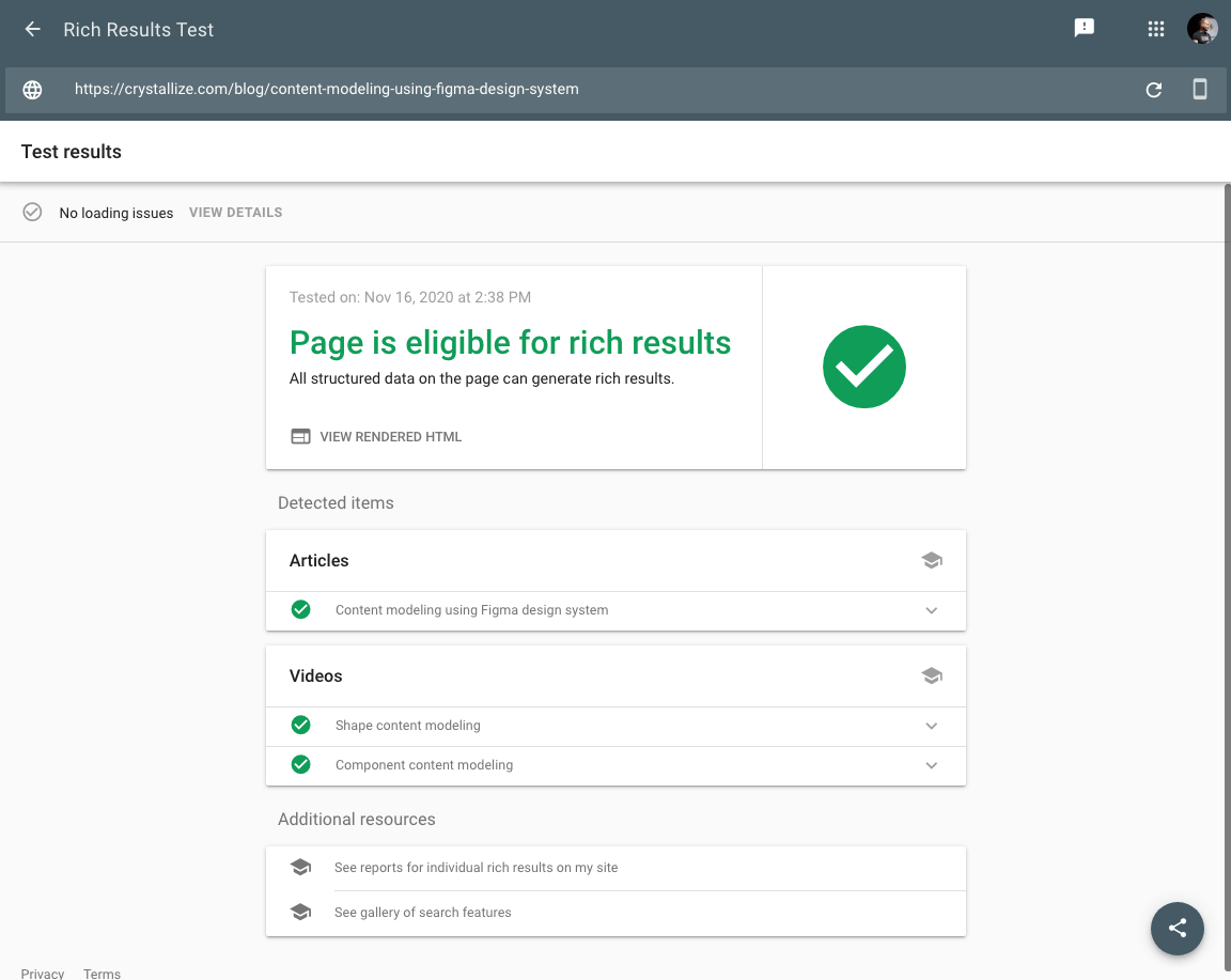 Rich results test tool screenshot