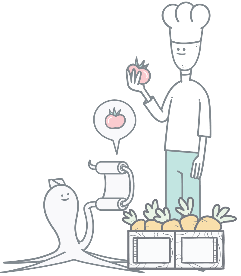 CMS Rich content Management. A chef standing by a create of carrots while an octopus is holding up a recipe.