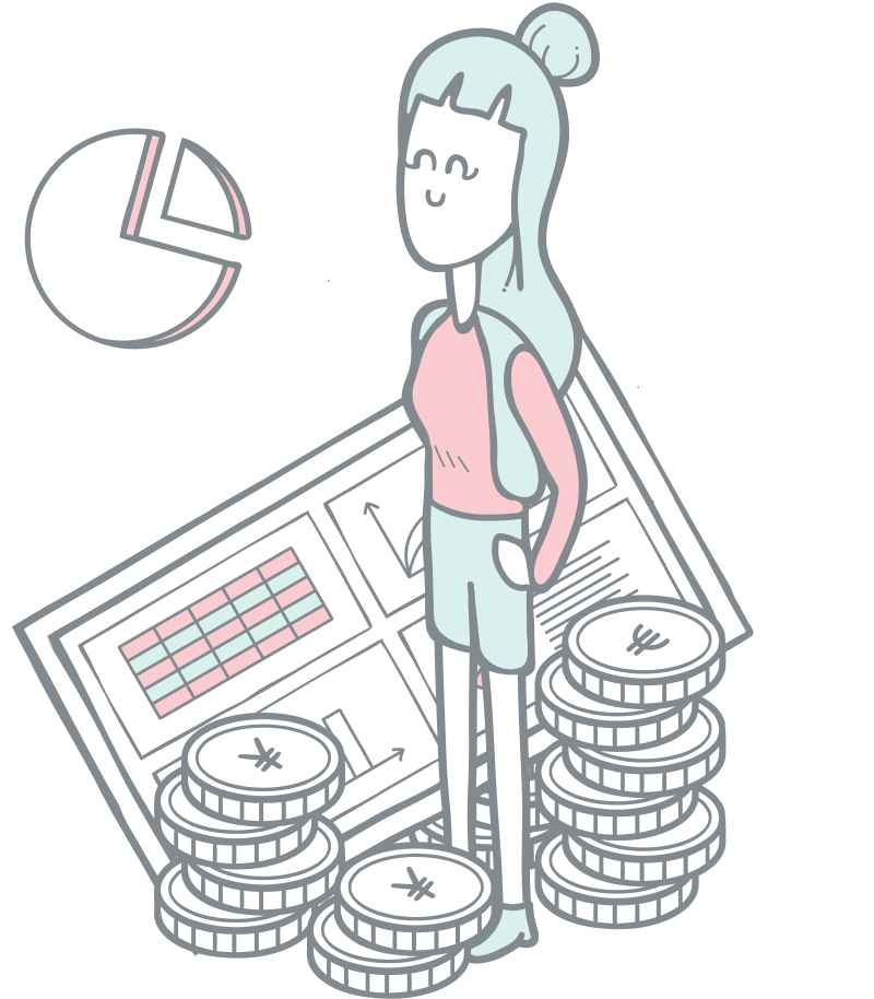 Sales reporting illustration. Illustration of a girl standing in oversized coins and a screen with statistics