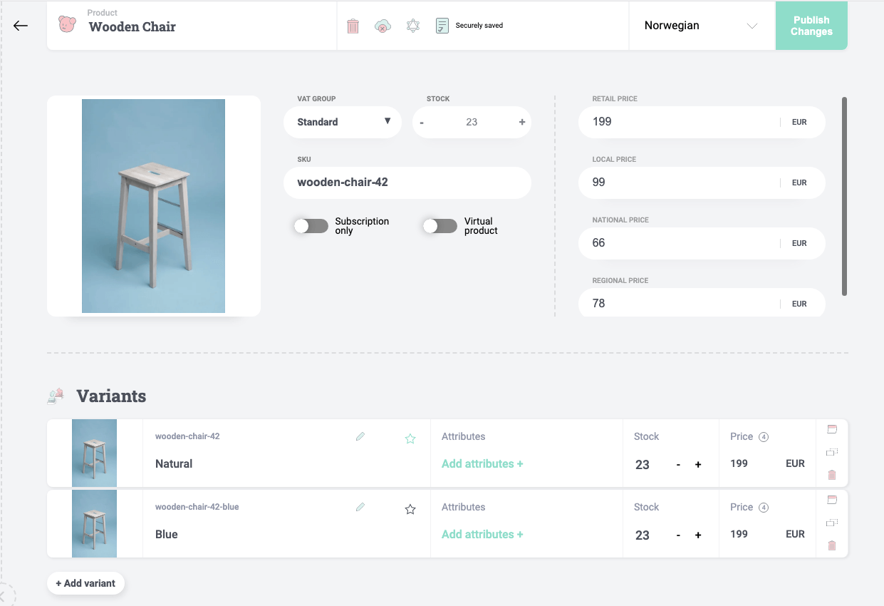 B2B pricing with price variants
