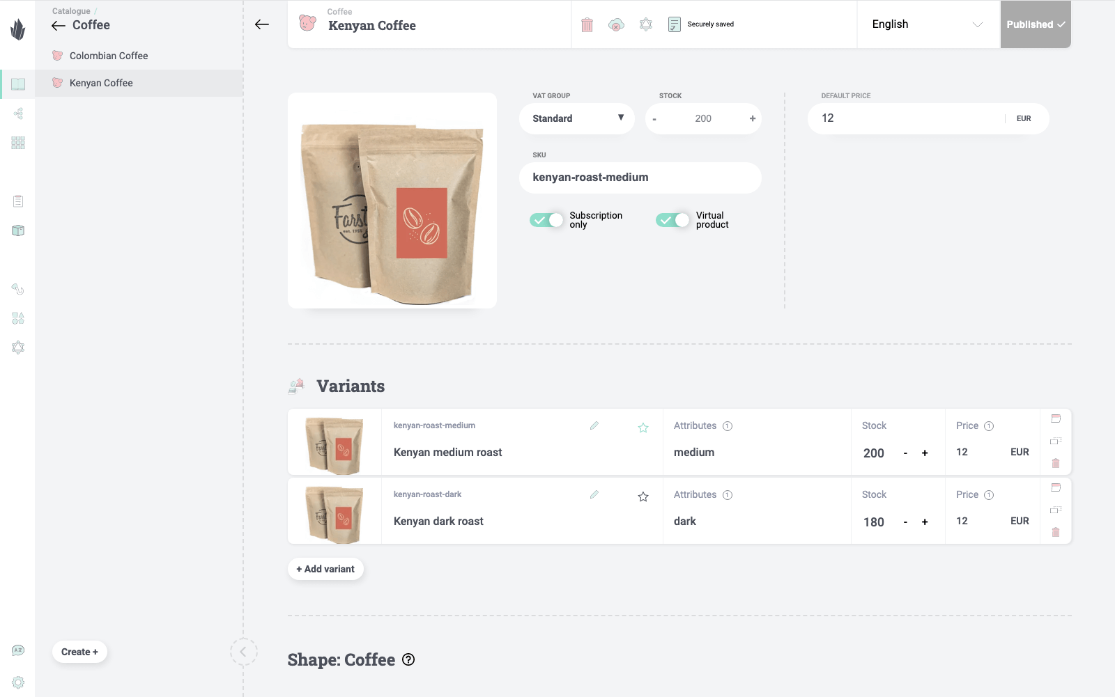 Stock management for physical products screenshot