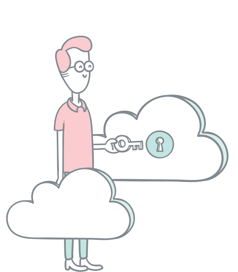 Digital products illustration. A guy with a key unlocking a cloud
