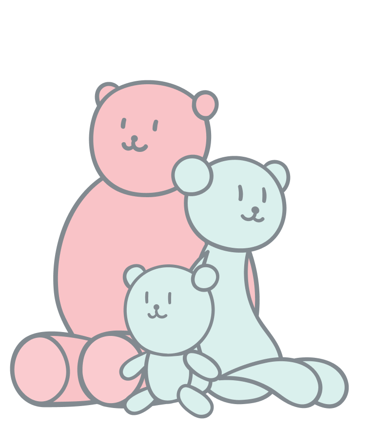 Product variants illustration. Pluff toy teddybears in different sizes and colors