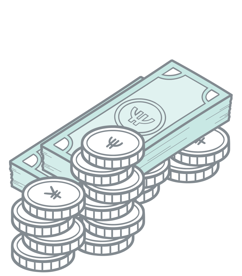 Price variants illustration.Close up of coins and paper currency i bulk laying around.