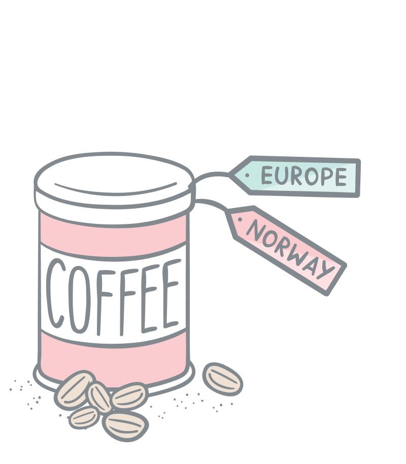 Rich taxonomies illustration. A tin can with coffe with two labels attached. One green label with the text Europe and a red label with the text Norway.