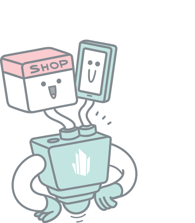 Headless CMS illustration. A robot with two heads, one in the shape of a mobile phone and the other as a webshop.