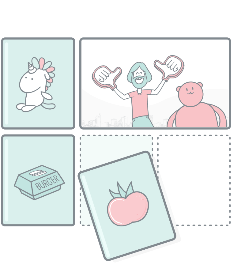 Grid organizer illustration.A 3x2 grid with products and articles in different cells