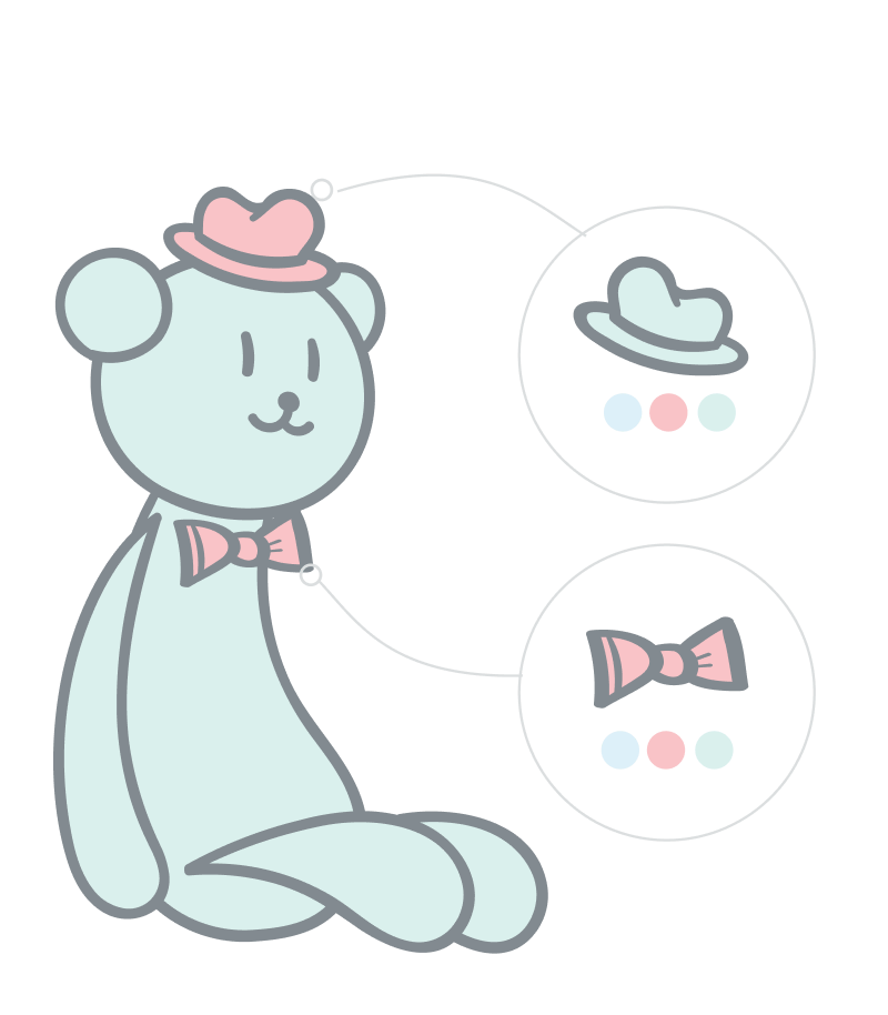 Semantic relations illustration. Teddybear with bowtie and hat displayed as related products to the teddybear.