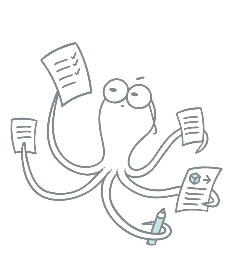 Rich text illustration. An octopus holding different documents in each tentacle