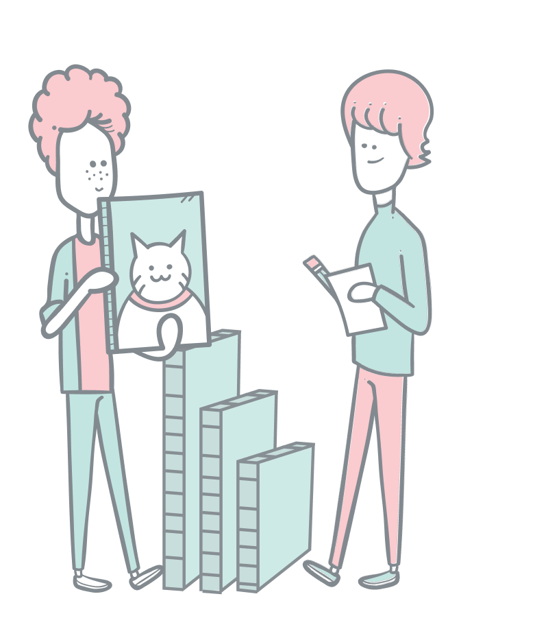 Images illustration. A guy holding up and showing a size variant of a cat photo to another guy.