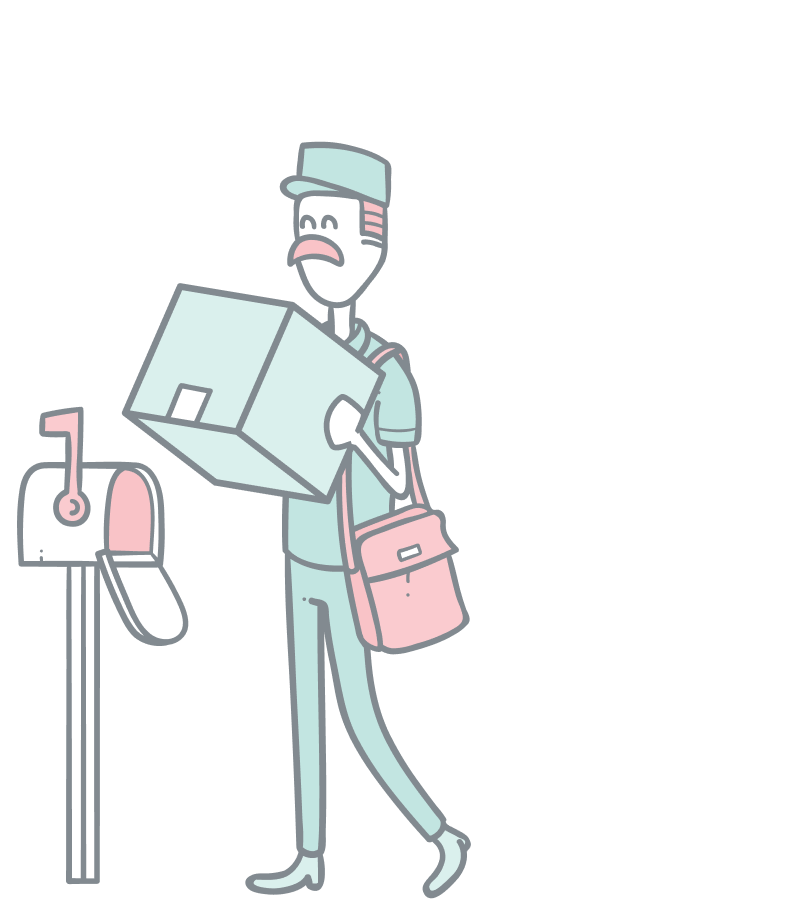 Order management illustration. A postal man dropping off a big package at a mailbox.
