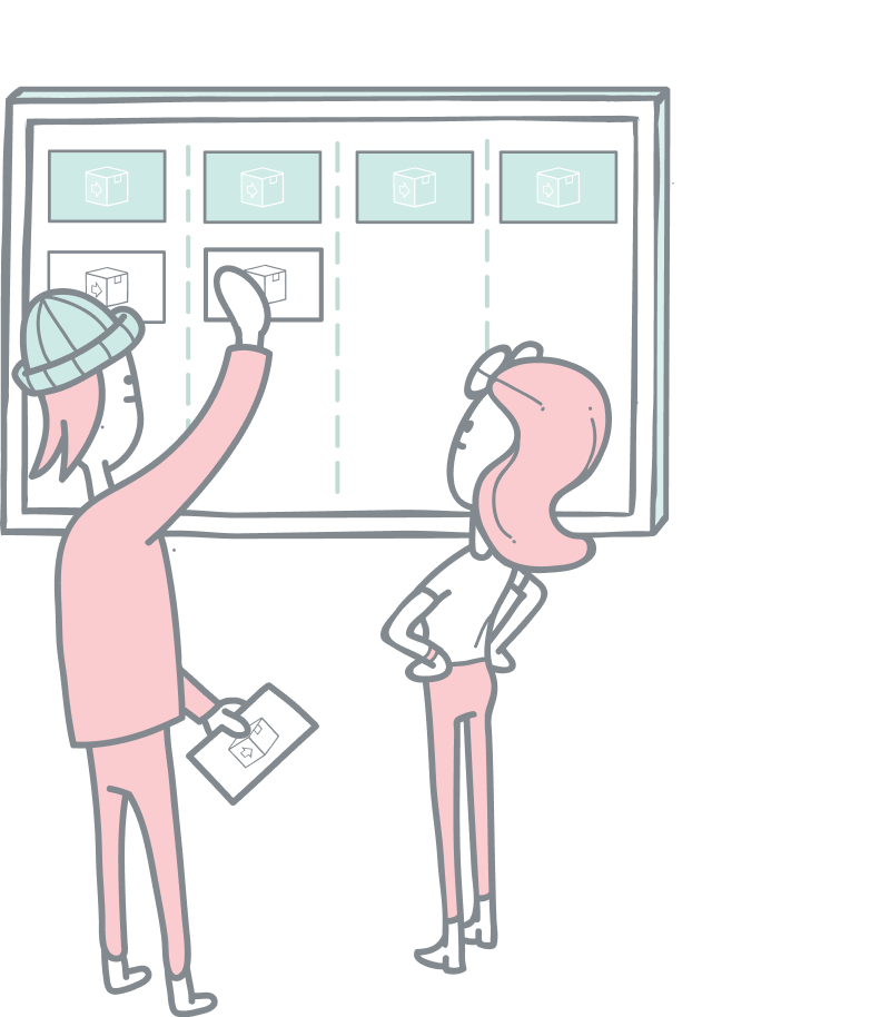 Fulfilment pipelines illustration. A guy and a girl looking at a big touch screen moving digital cards around.