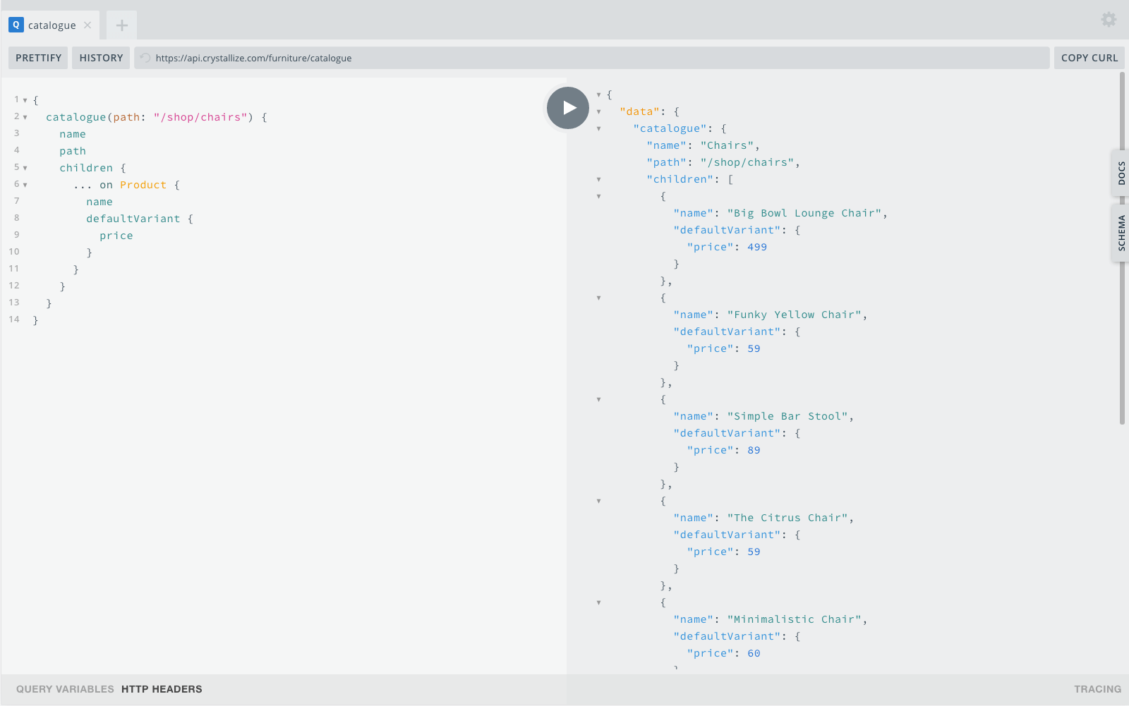 Fast GraphQL API for instant access to catalogue data.