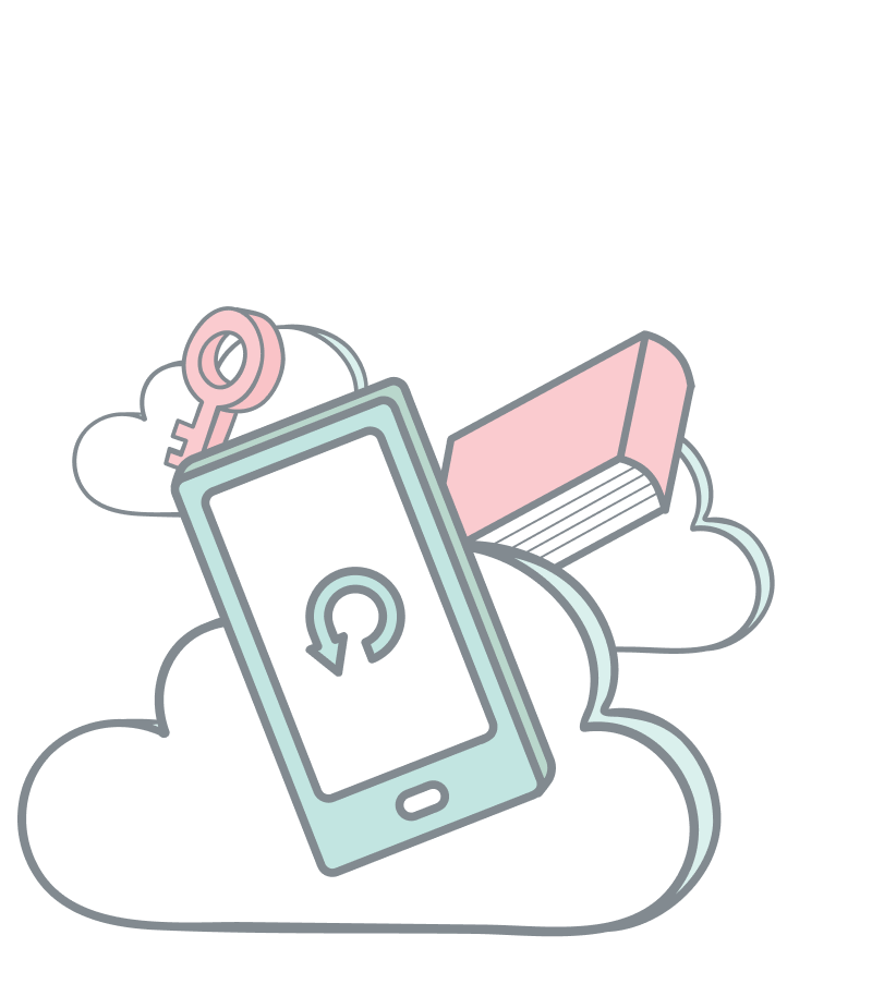 Digital subscriptions. A mobile phone, a book and a key floating on clouds.
