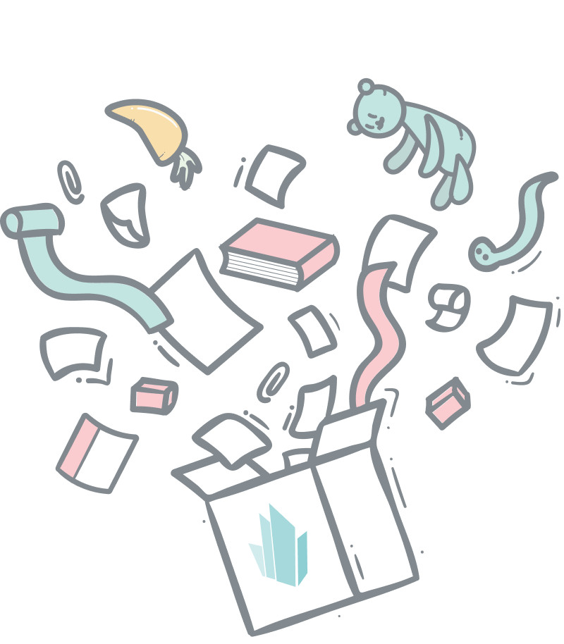 Headless ecommerce toolbox illustration. A crystallize cardboard with confetti and products exploding out