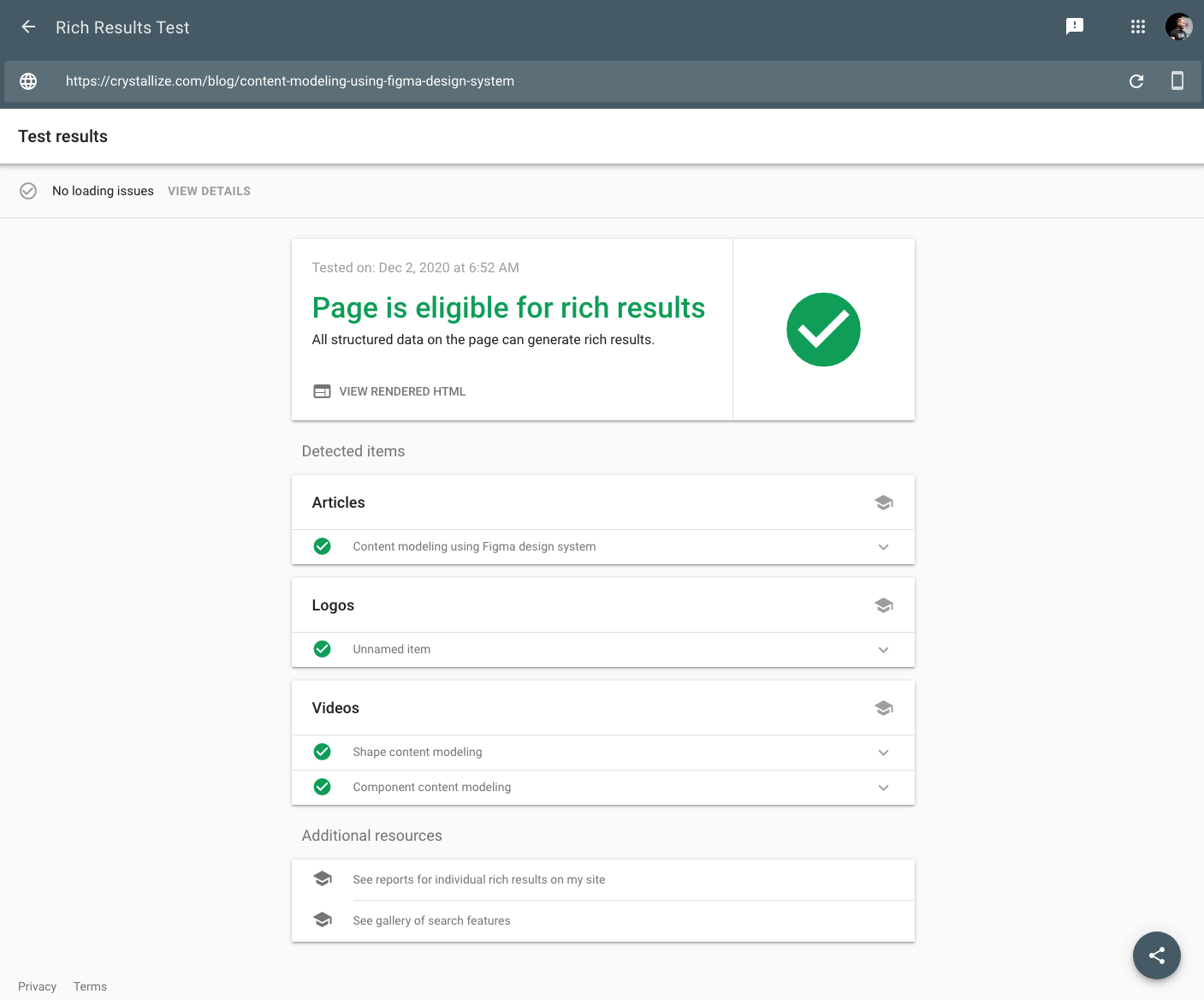 Rich results test screenshot