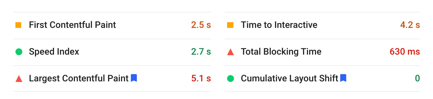 PageSpeed detailed results screenshot