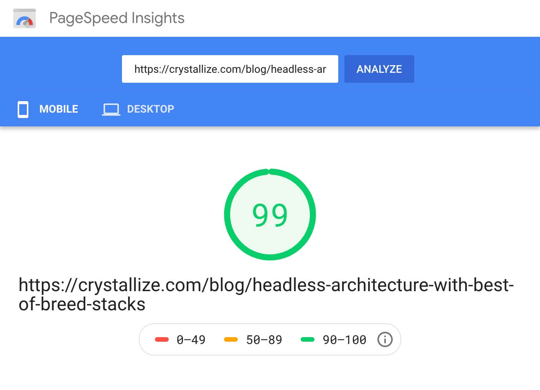 PageSpeed 99 score screenshot