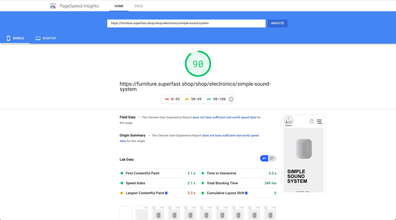Page speed UI design