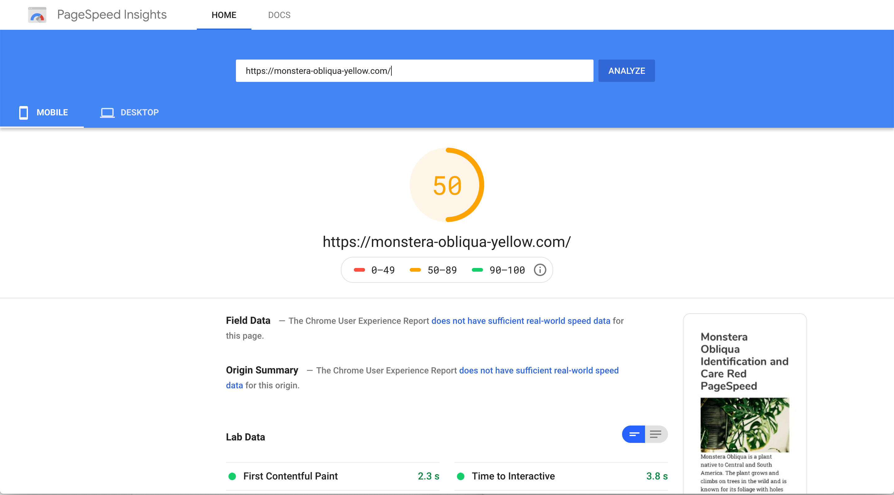 Yellow page speed score