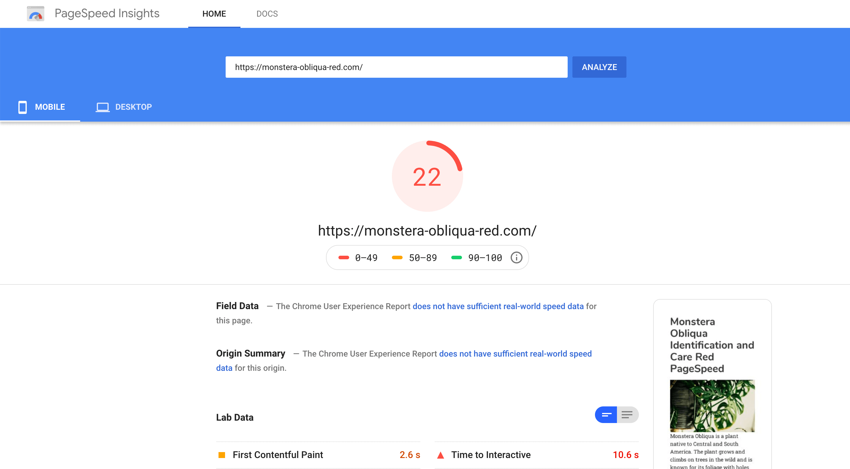 Red page speed score