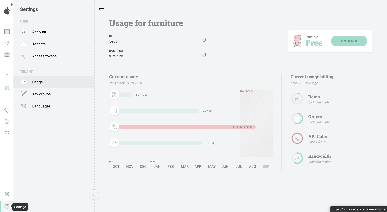 Crystallize tenant metering metrics
