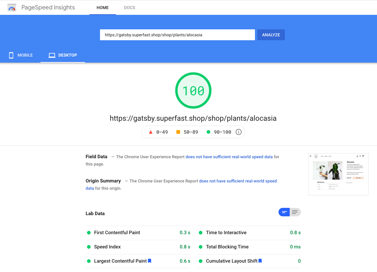 PageSpeed insight with core web vitals screenshot
