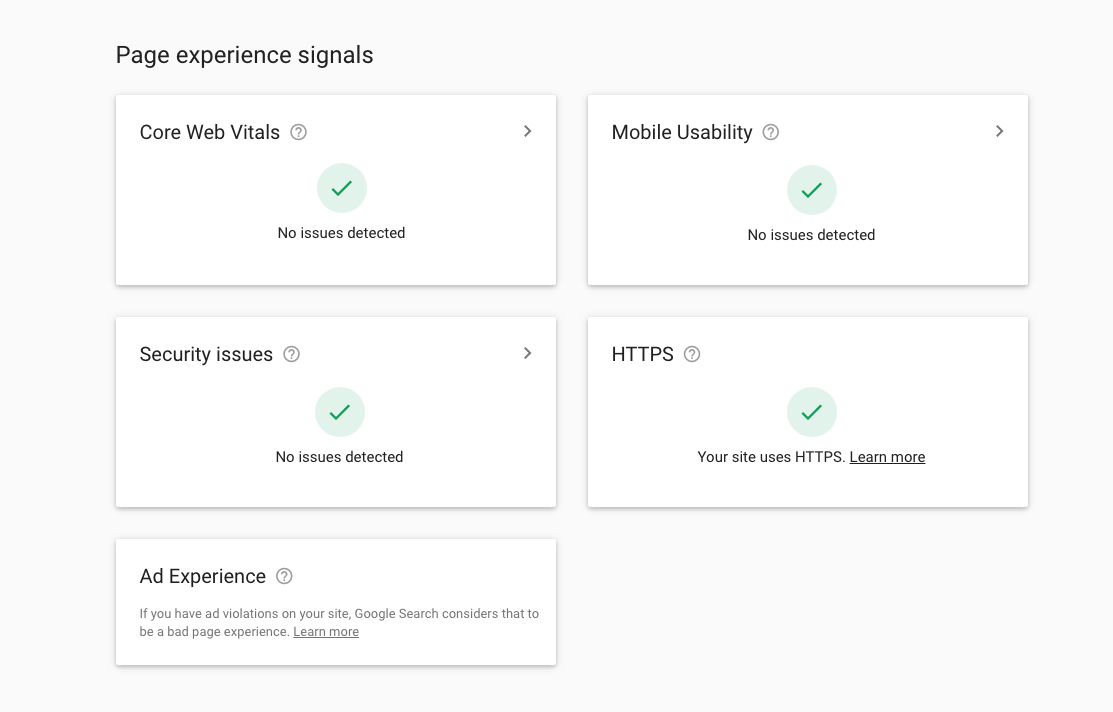 Page experience signals screenshot
