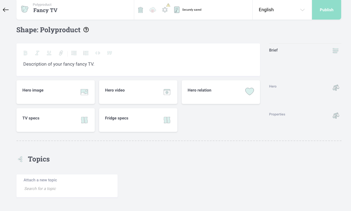 Editorial UI showing polymorphic product properties with choice component