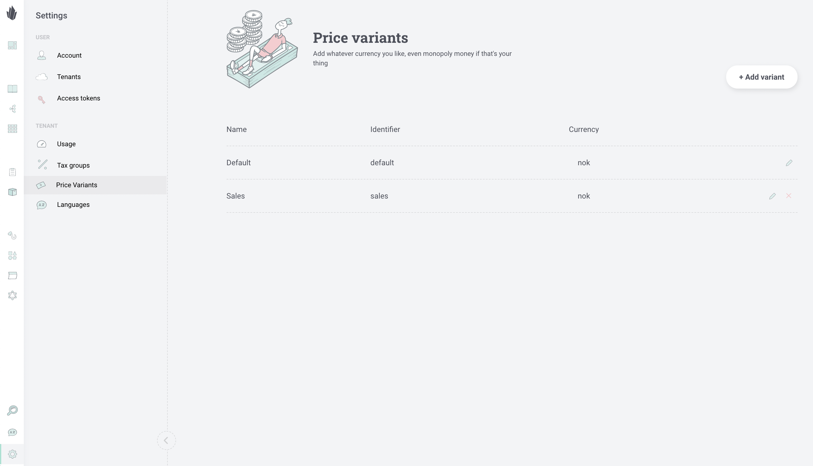 Admin UI Price Variants