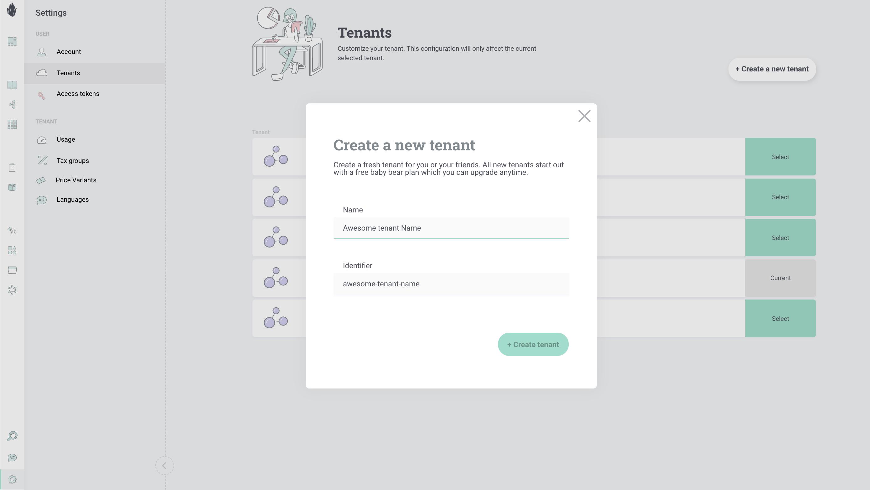 Create tenant in admin UI