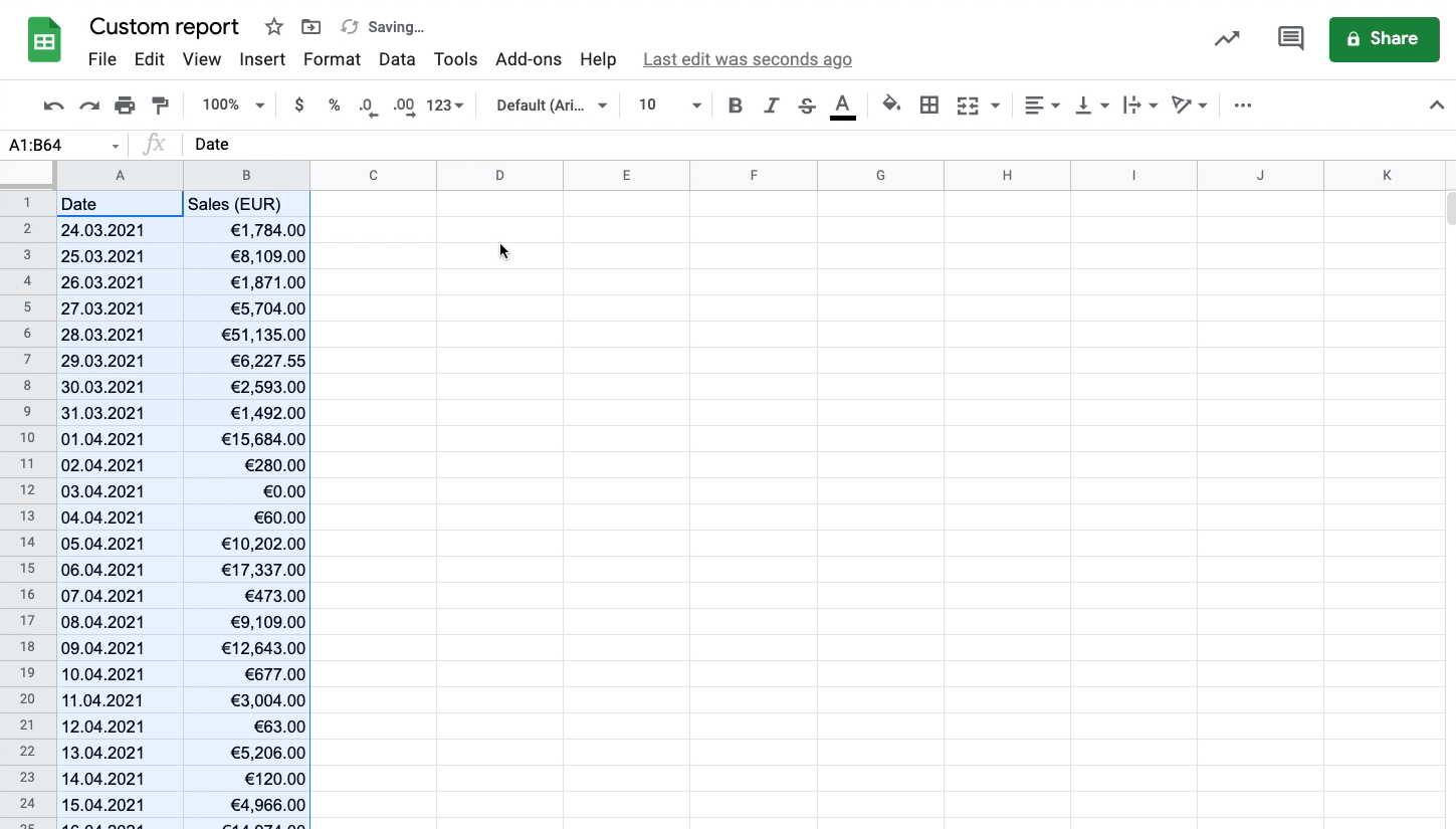 Sales insight report exported to spreadsheet screenshot