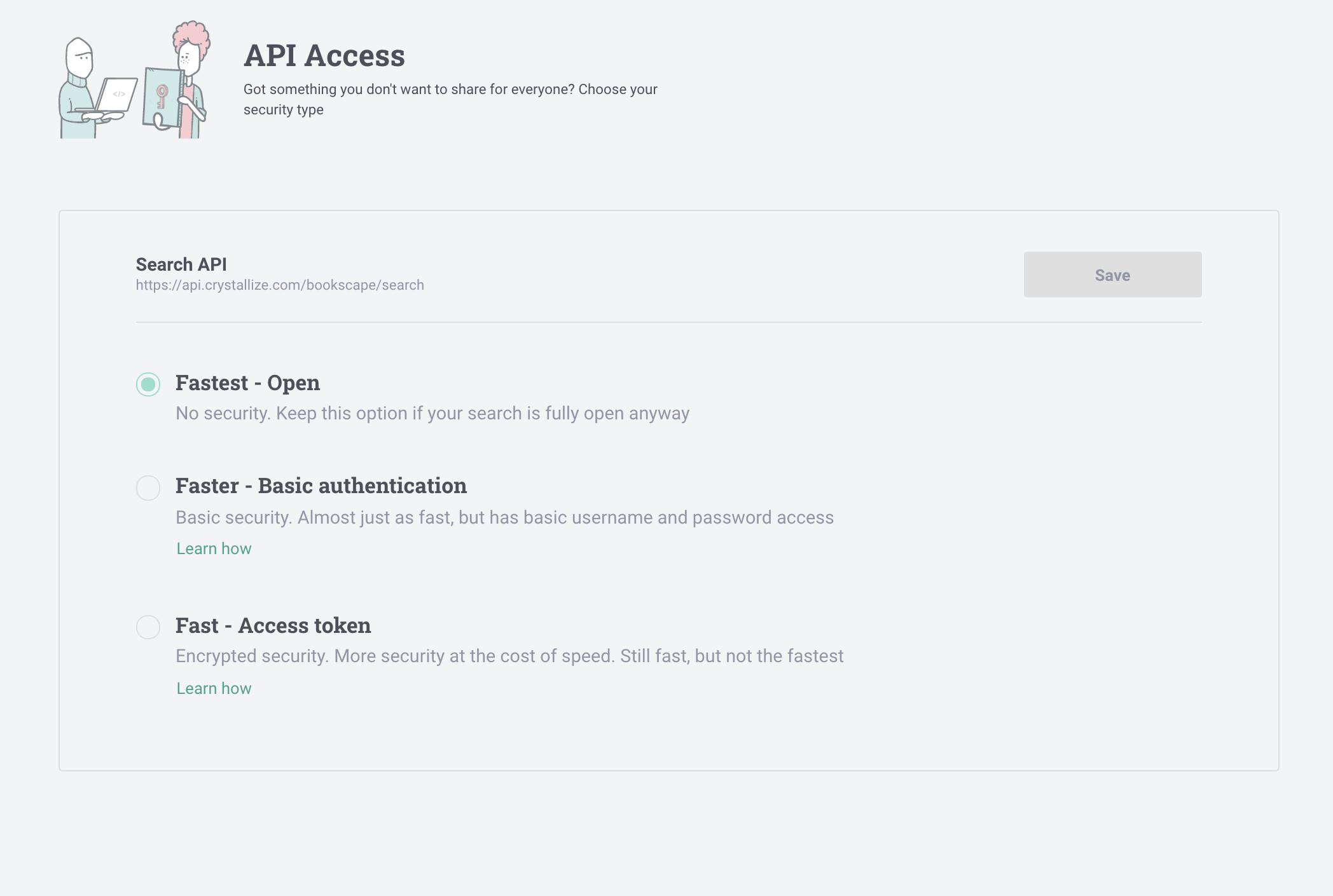 Search API Access Settings