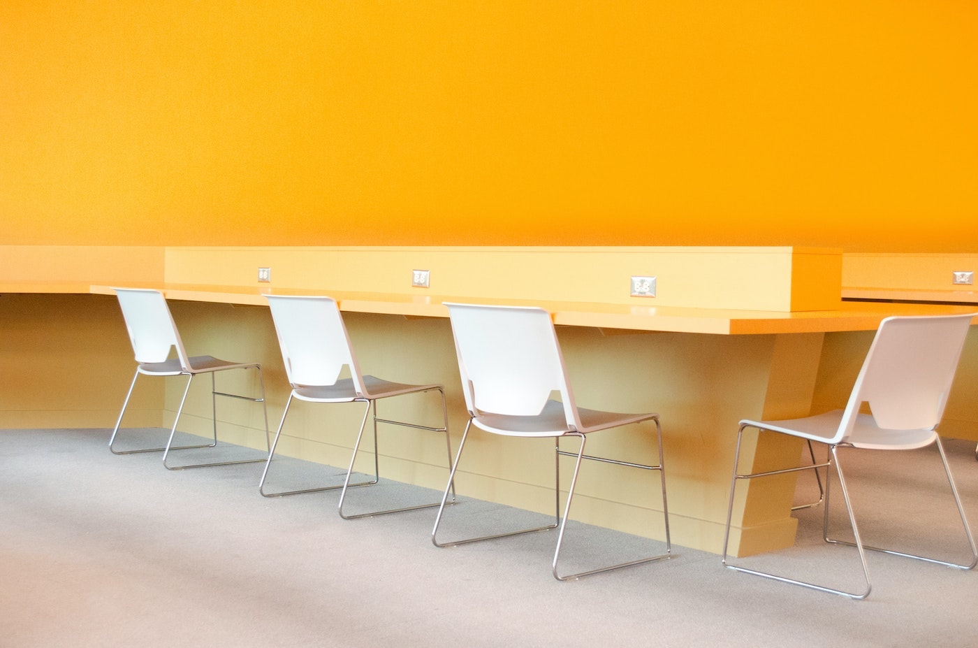 An office with yellow walls