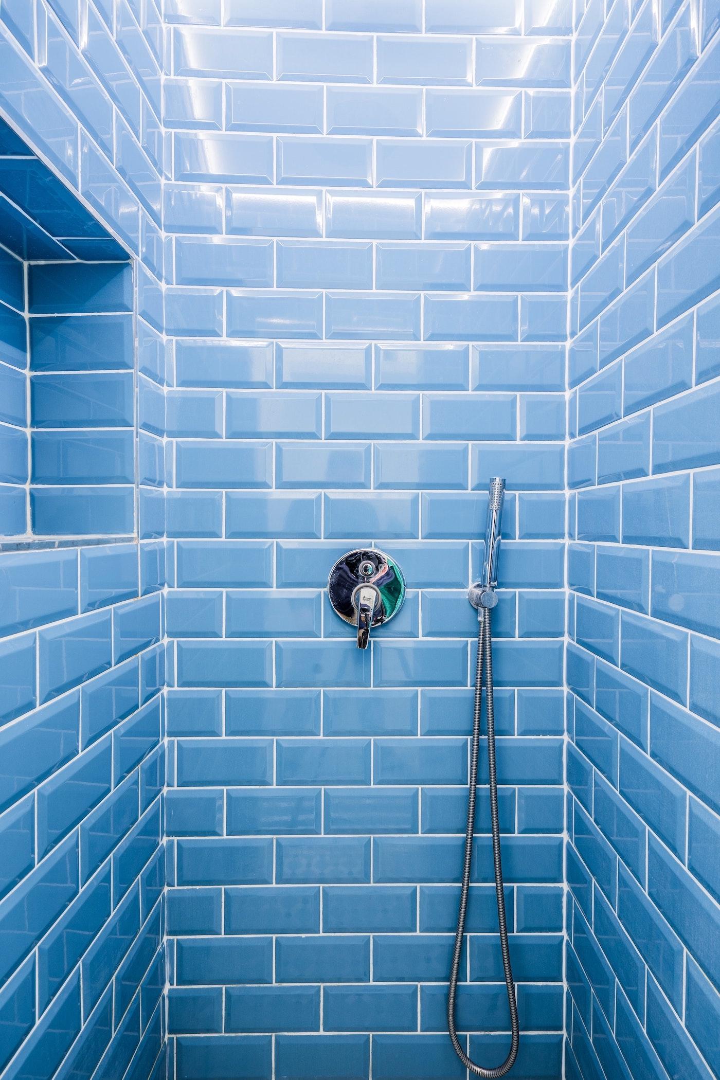 Blue tiles in the shower