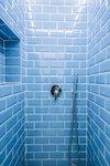 Blue tiles in shower
