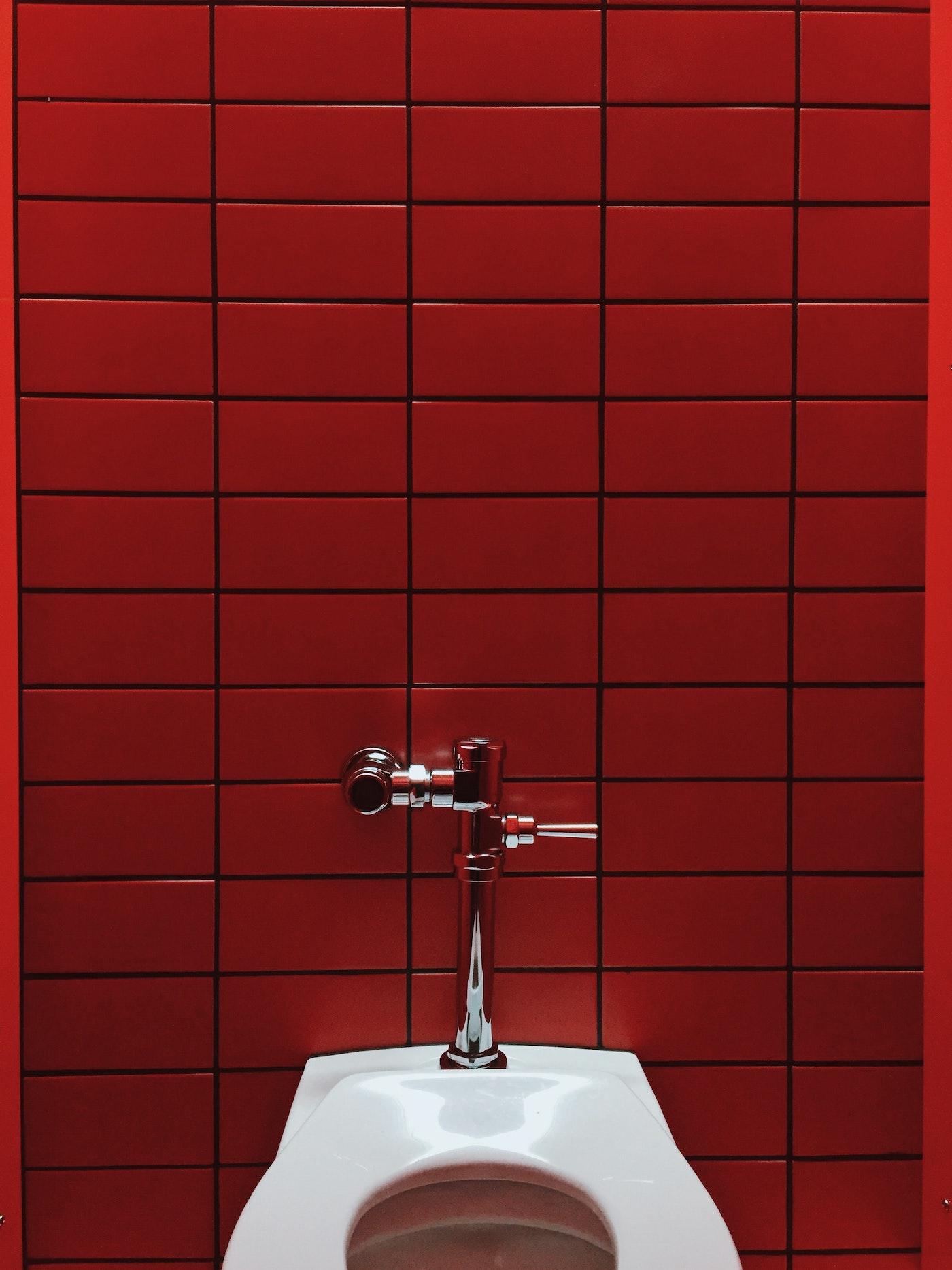 Red tiles in bathroom