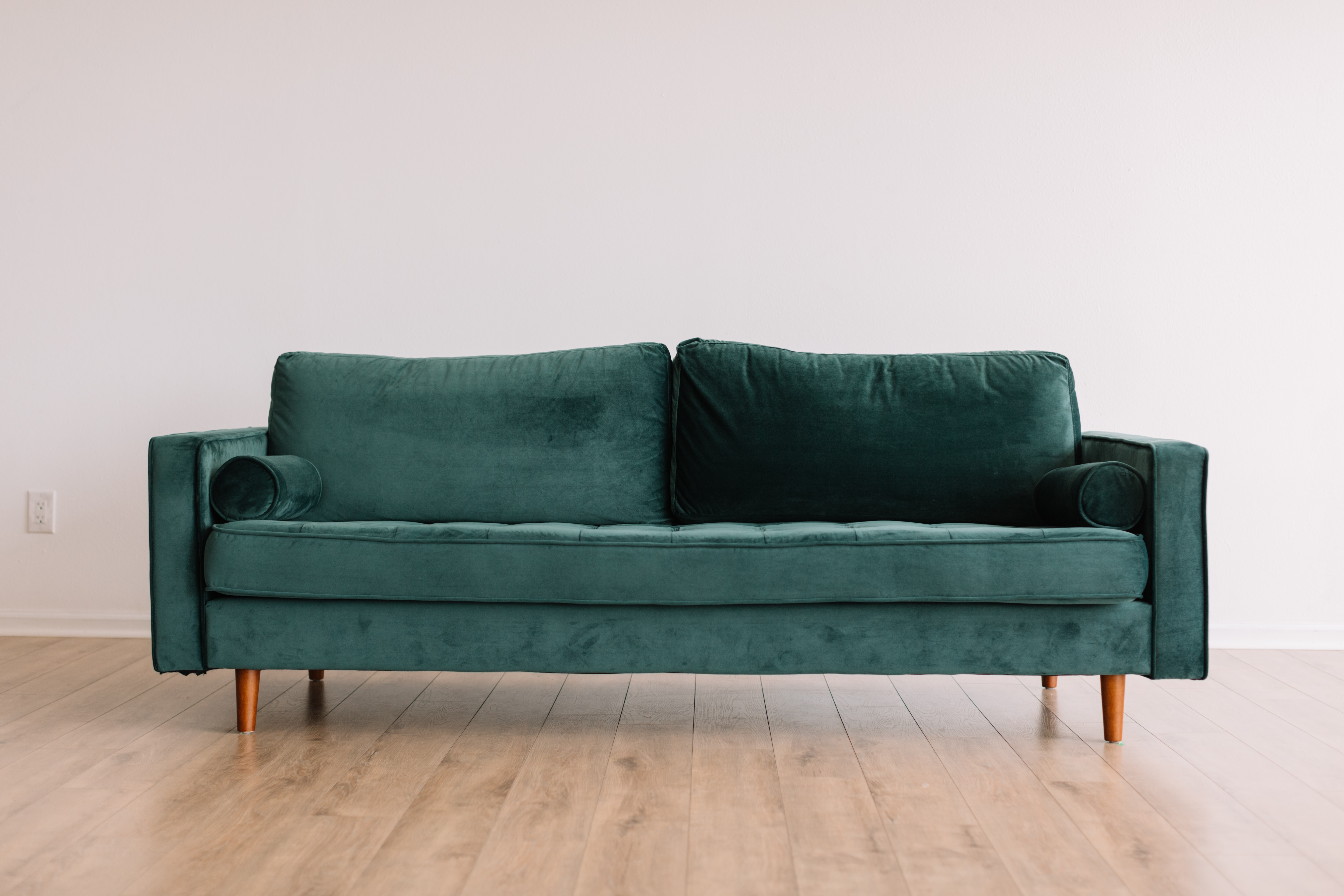Blue velour sofa