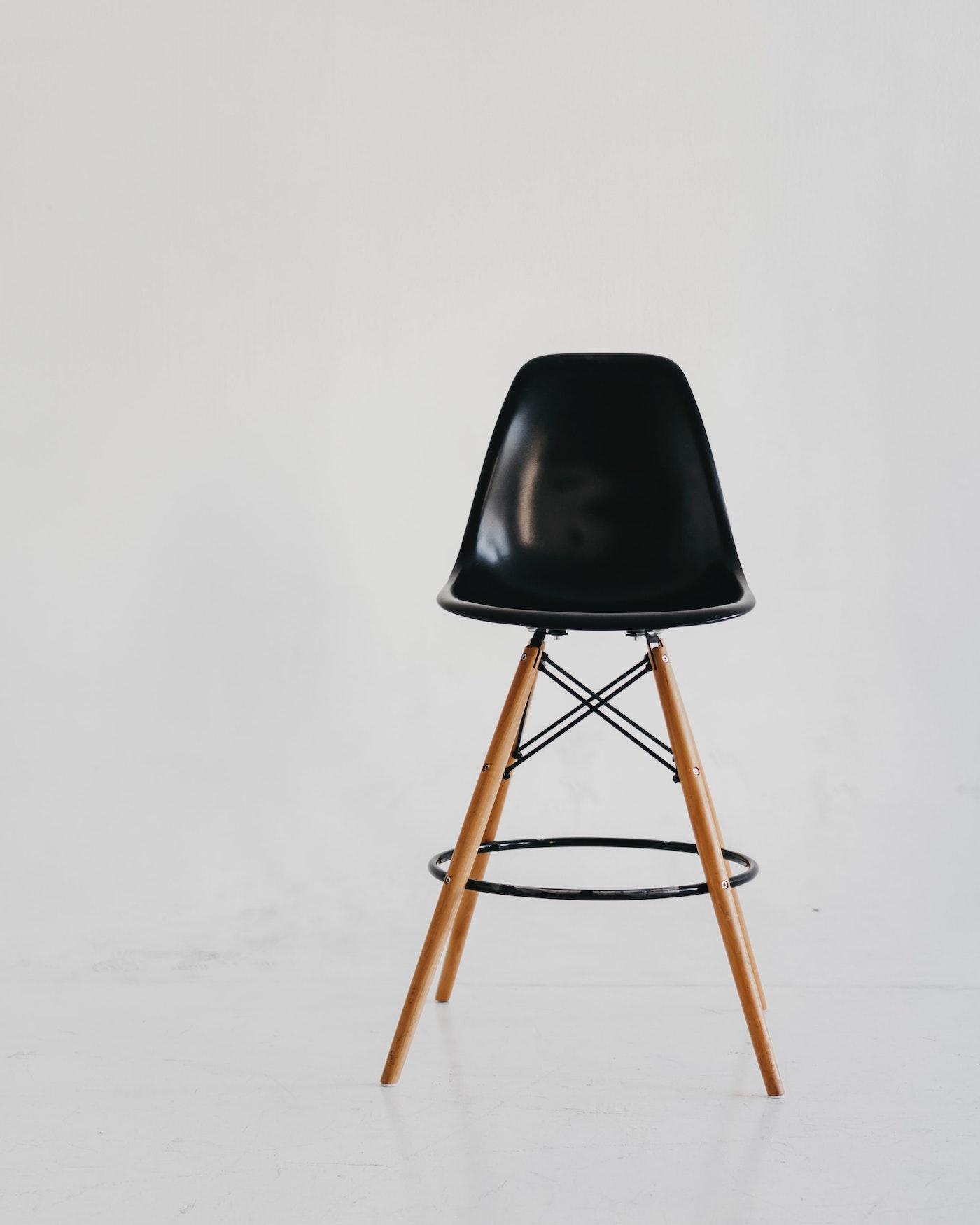 A black simple bar stool