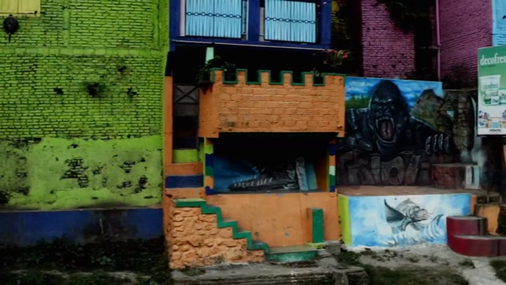 Coloured brick wall building