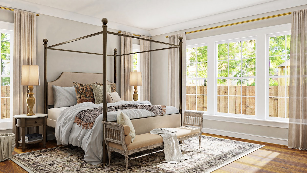 Queen Size Bed with Brassy Finish