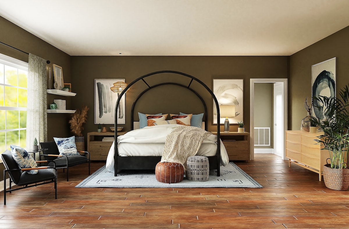 Metal bed with Soft Lines