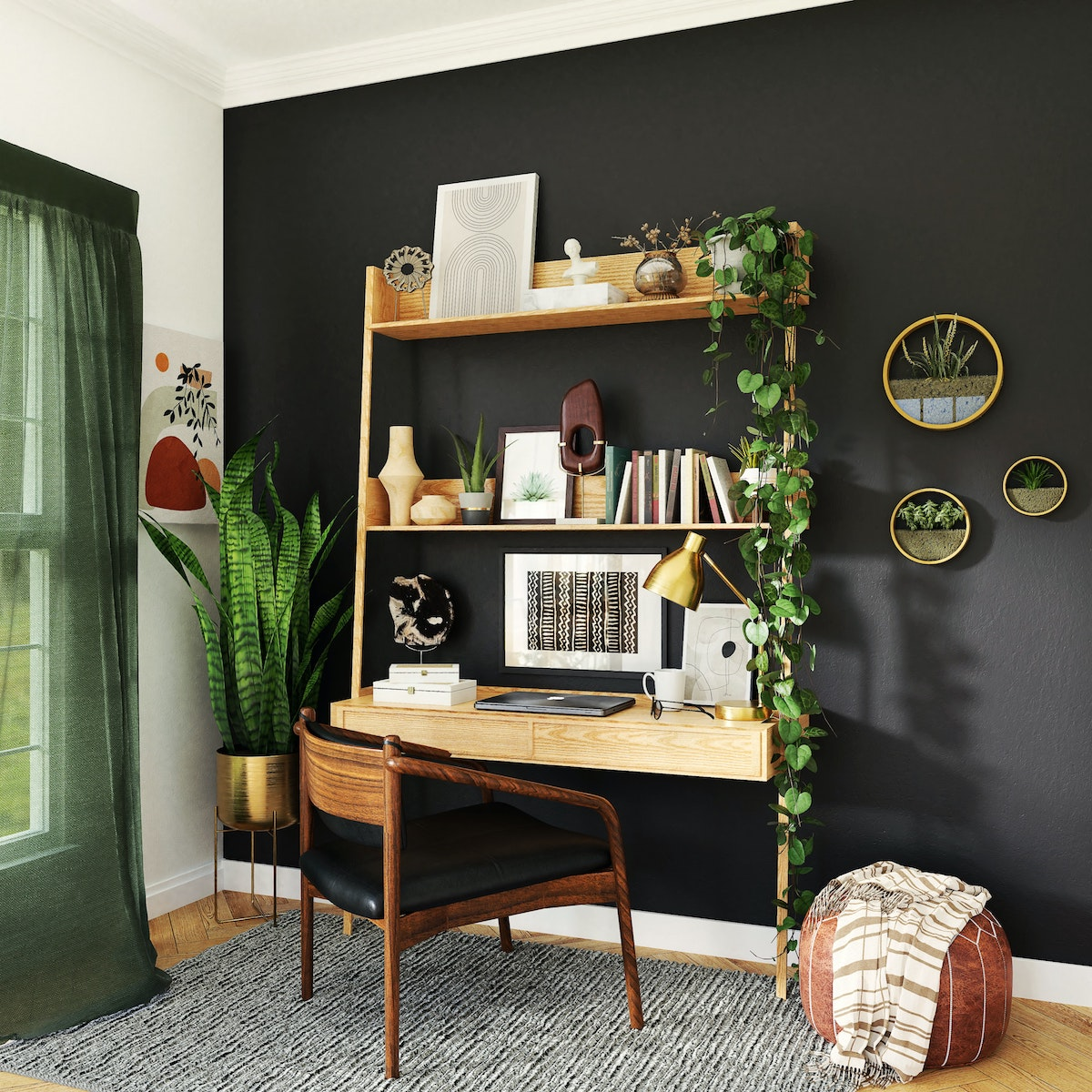 Mounted Desk with Shelves
