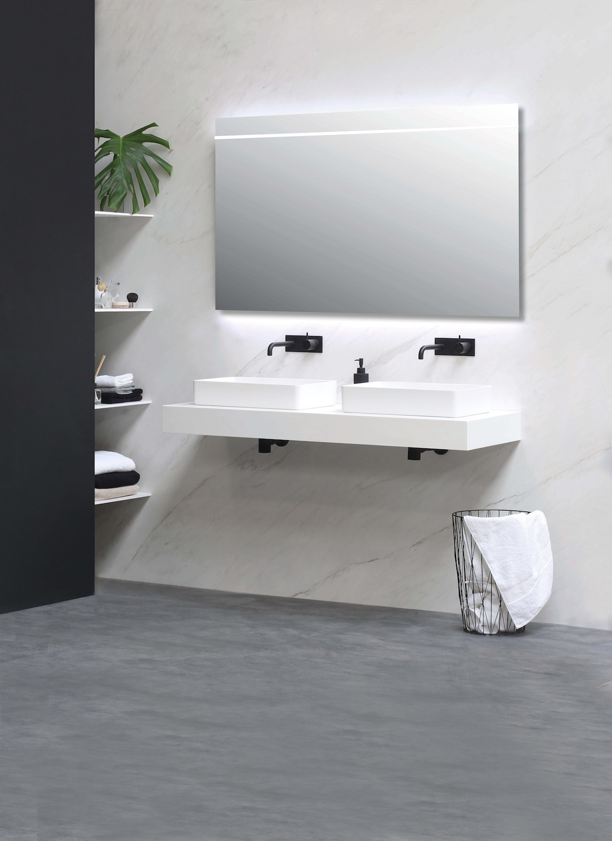 Mounted Bathroom Counter in White