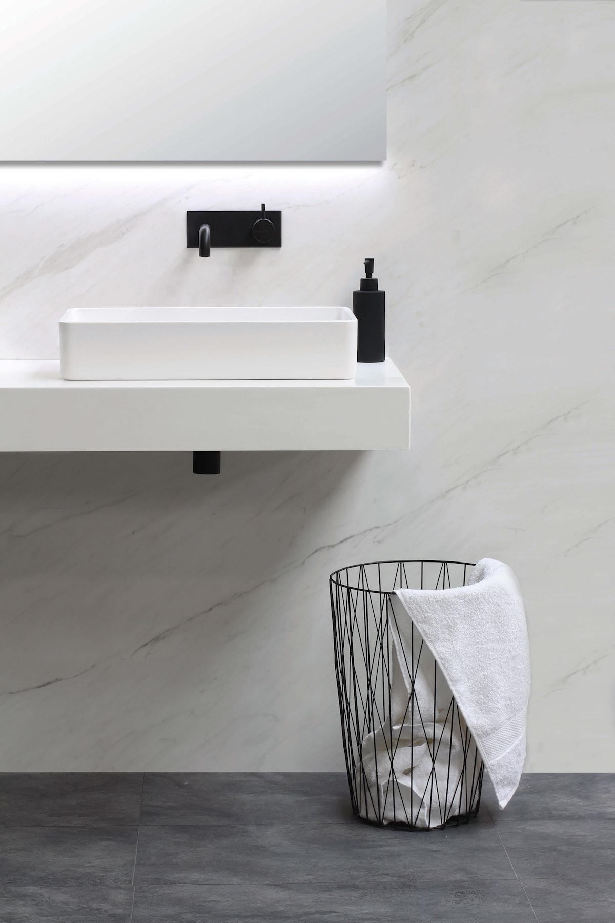 Square White Bathroom Sink