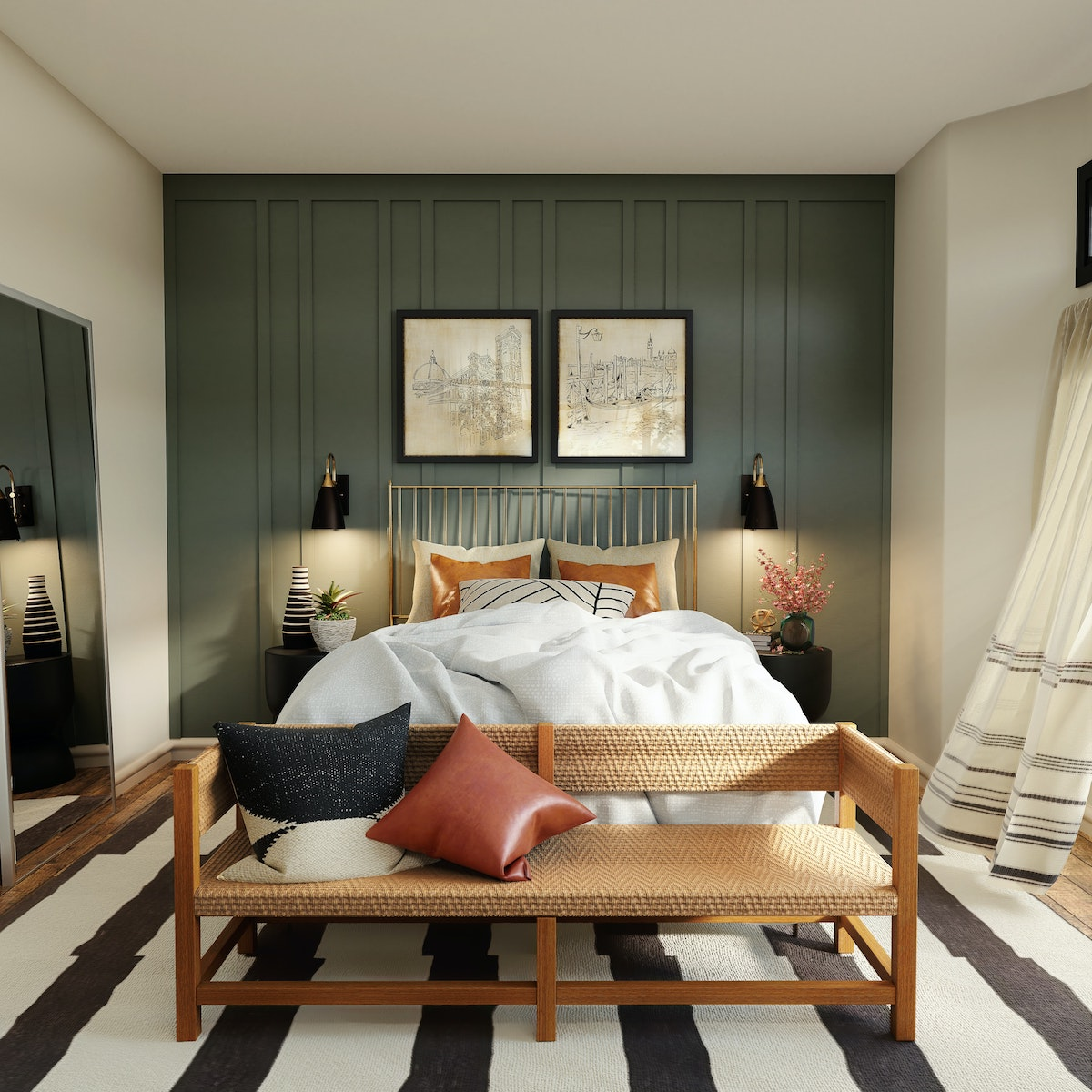 Bed with Gold Frame