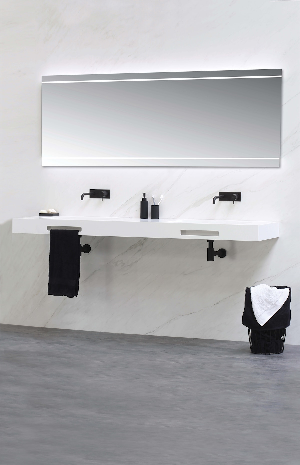 Mounted Bathroom Counter with Built-In Sinks