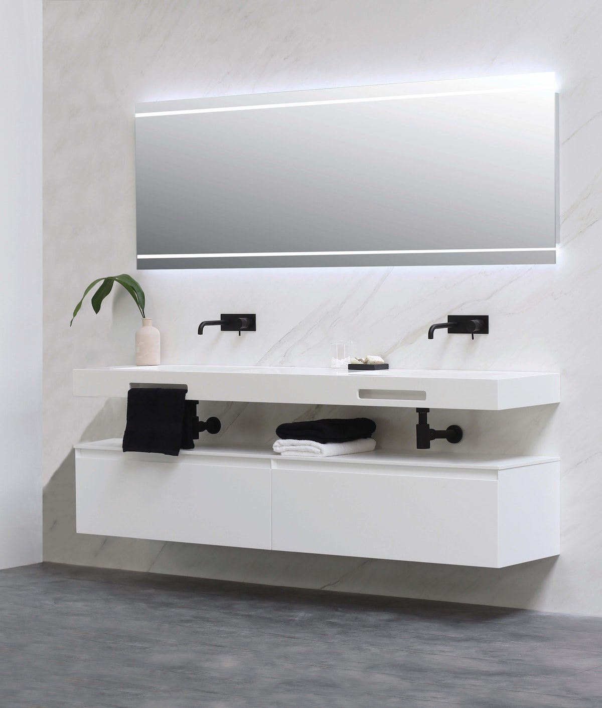 Mounted Bathroom Counter with Storage